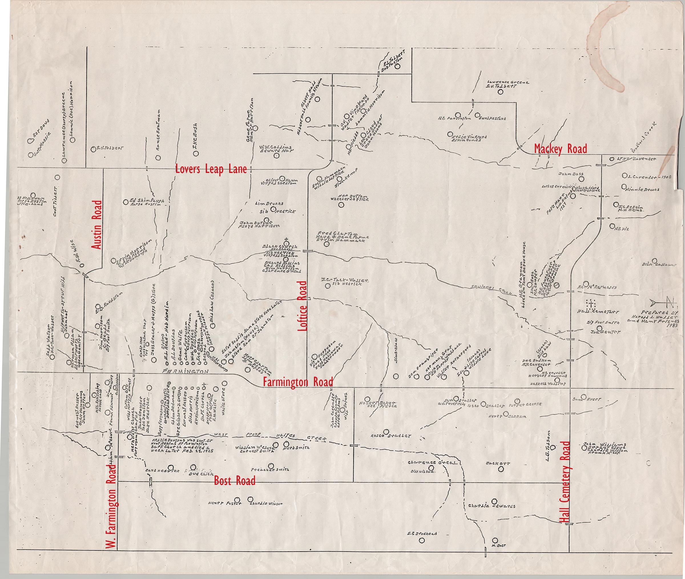 Early 1900s map of Farmington found describes shooting at church